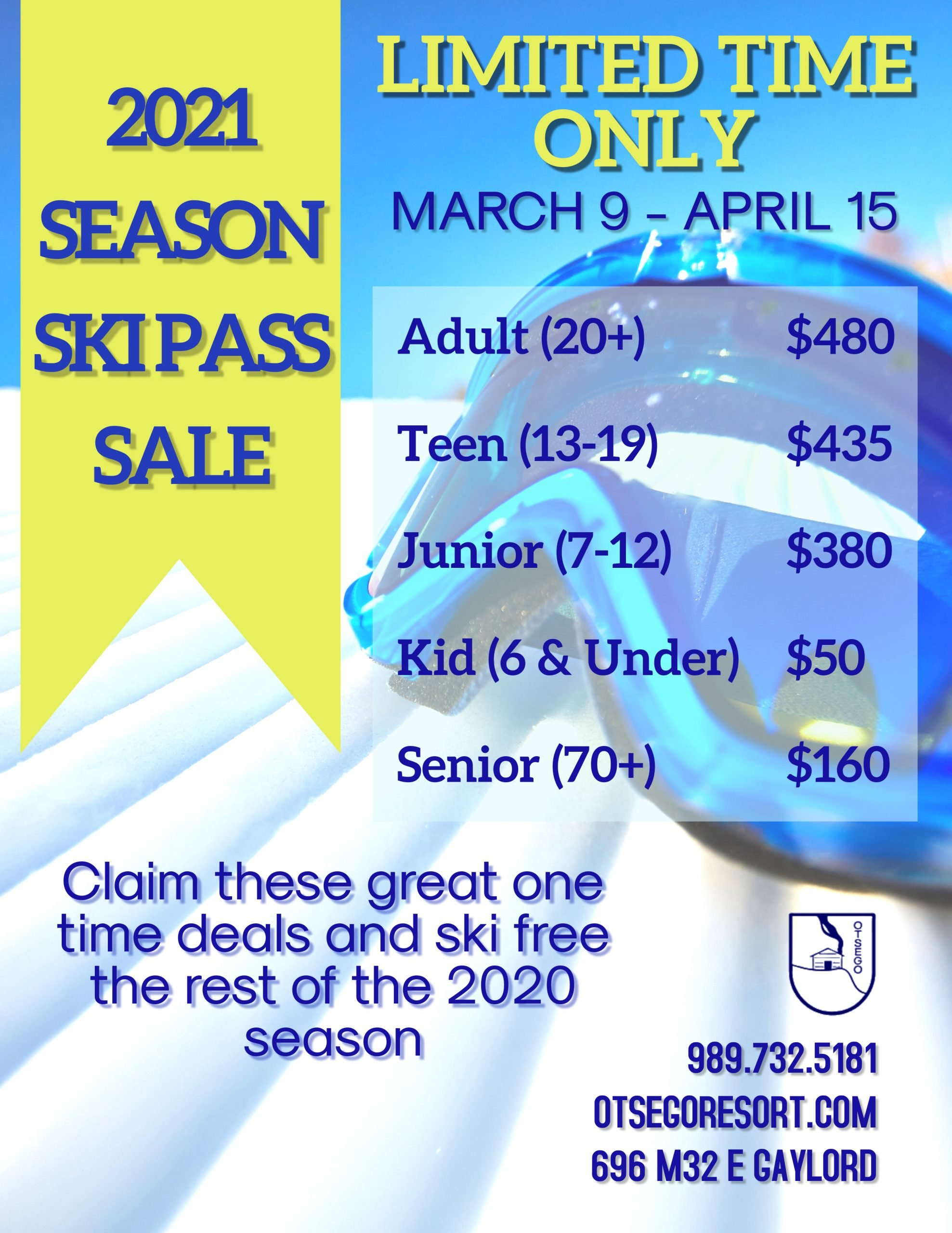 2021 Season Ski Pass Special Flyer