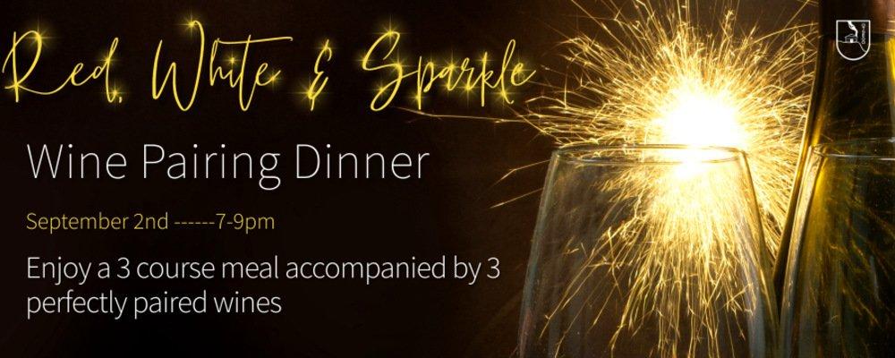 Red white and sparkle wine pairing dinner header