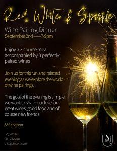 RRed White and Sparkle Wine Pairing Dinner