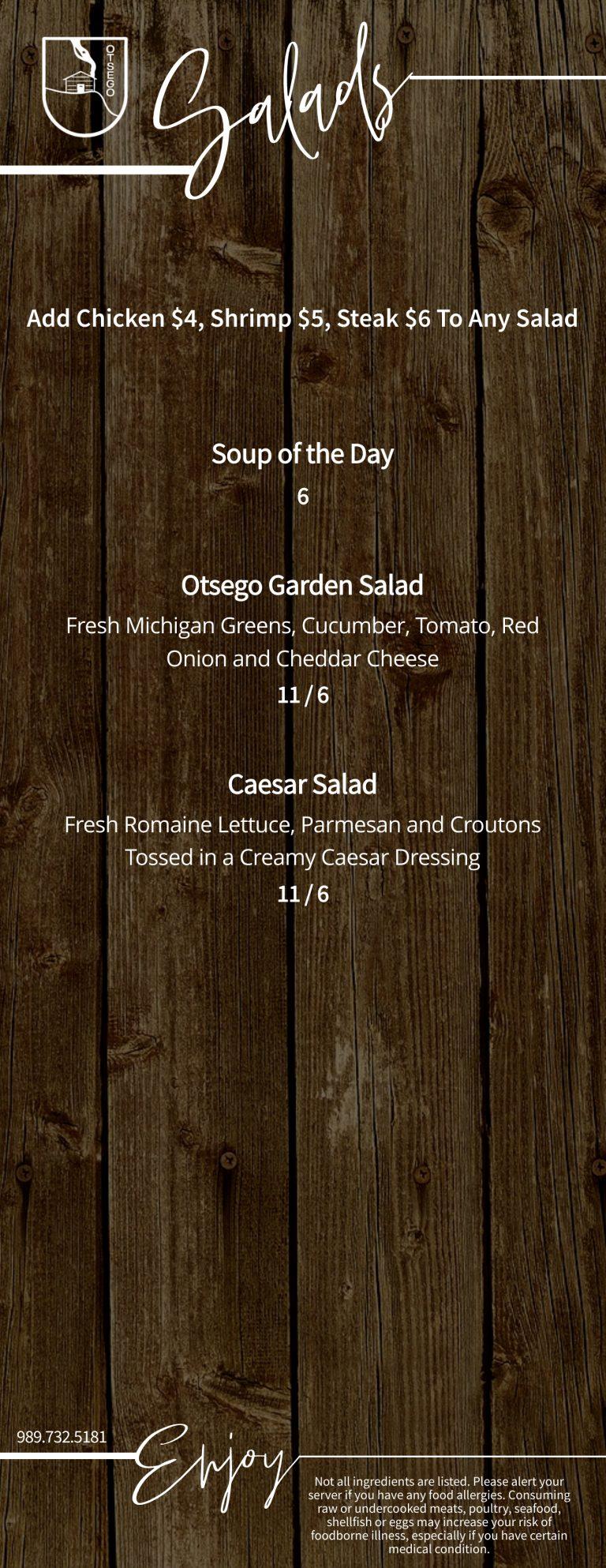 Duck Blind Grille Salad Menu